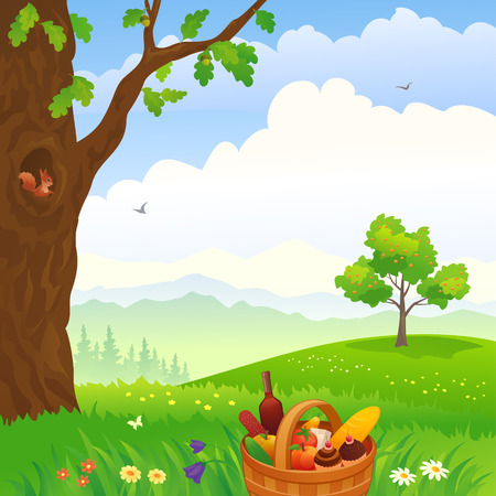 Vector illustration of a picnic scene