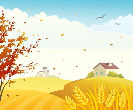 Vector illustration of a autumn farm scene