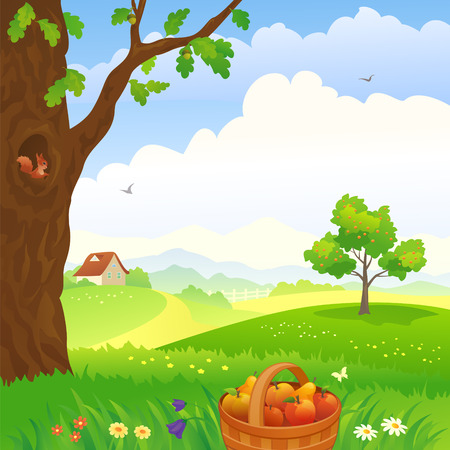 late summer: Vector illustration of a beautiful countryside