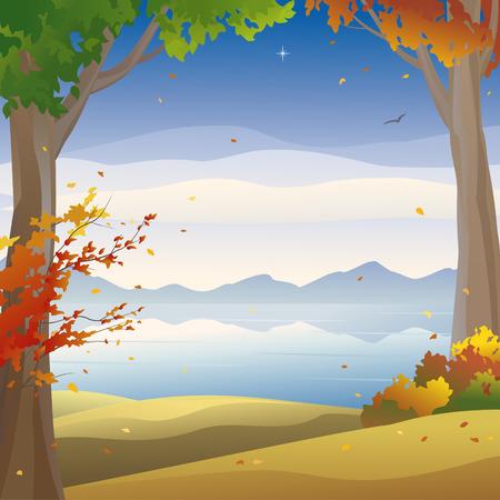 Vector illustration of an autumn landscape