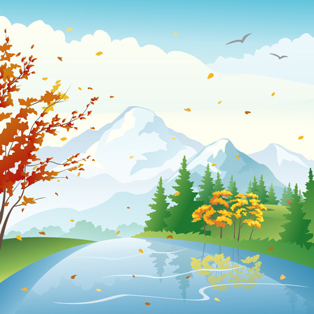 Vector illustration of a fall lake and forest Vector