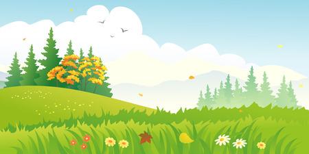 non urban scene: Vector illustration of a beautiful autumn forest