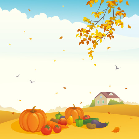 Vector illustration of a harvest day at a farm Vector