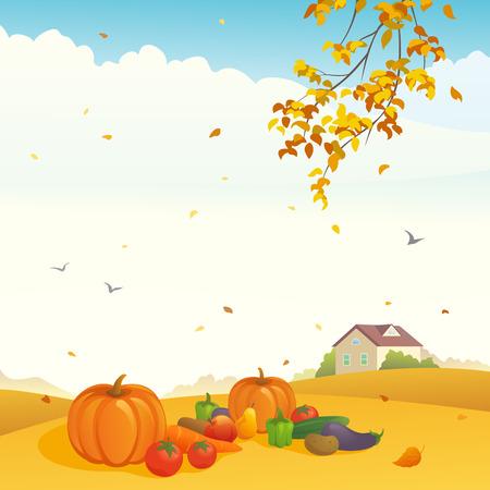 autumn scene: Vector illustration of a harvest day at a farm