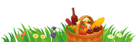 Vector illustration of a picnic basket on a white background