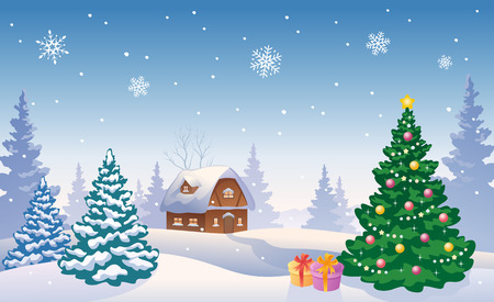 Vector illustration of a snowy landscape with a Christmas tree