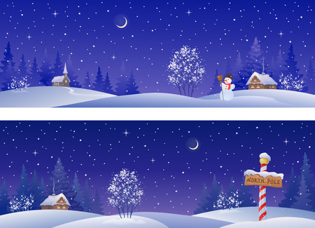 christmas  eve: banners with snowy winter countryside Illustration