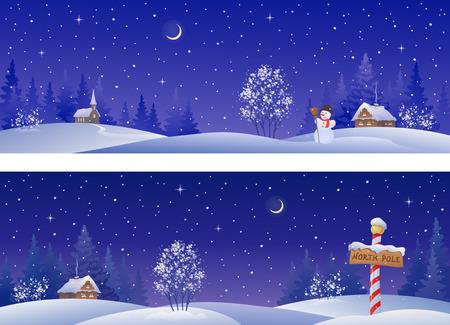 estrellas de navidad: pancartas con campo cubierto de nieve de invierno Vectores