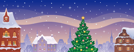illustration of a Christmas old town