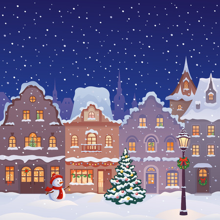 at town square: illustration of a decorated snowy old town