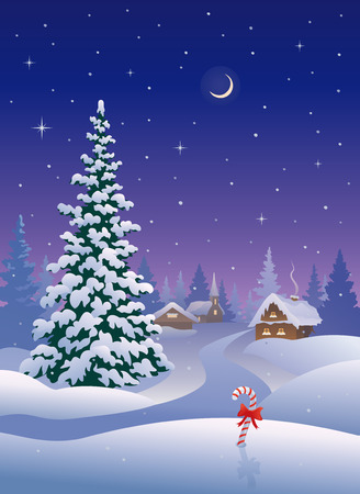 the trees covered with snow: illustration of a snowy Christmas village Illustration