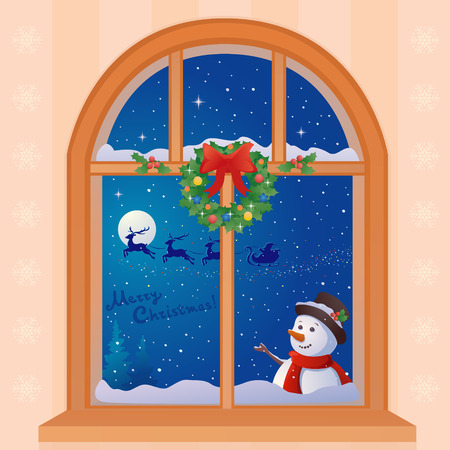 illustration of a Christmas window with a greeting snow man and Santa Claus sleigh Vector