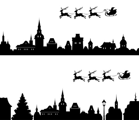 claus: illustration of Santas sleigh flying over old town Illustration