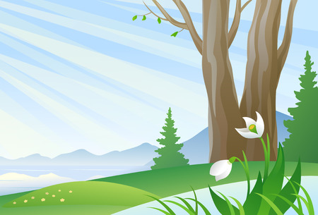 non urban: Vector illustration of an early spring landscape