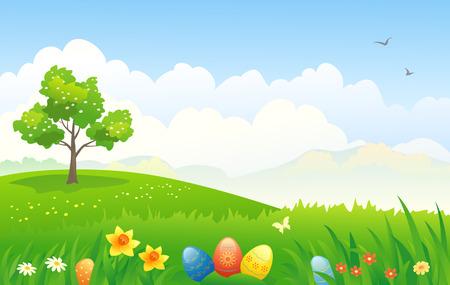 arbol de pascua: Ilustración vectorial de un paisaje Pascua Vectores