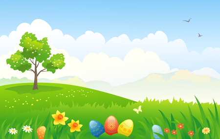 easter flowers: Vector illustration of an Easter landscape
