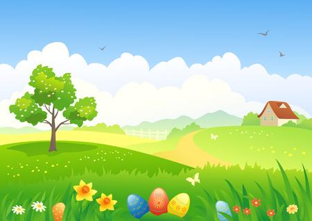 campo de flores: Ilustraci�n vectorial de un paisaje de Pascua Vectores
