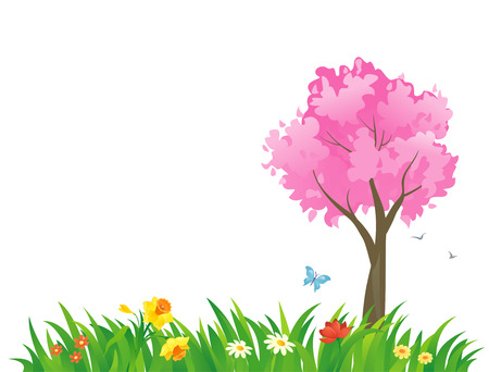 pink tree: Vector illustration of a spring scene with a pink tree
