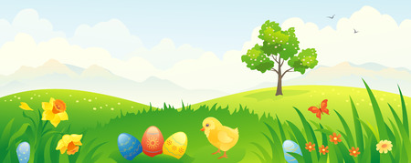 hilly: Vector banner with an Easter scenery
