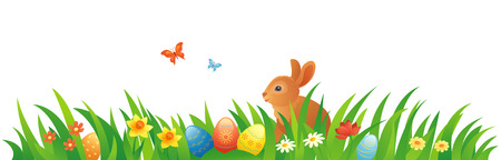 easter eggs: Vector illustration of an Easter grass with a bunny
