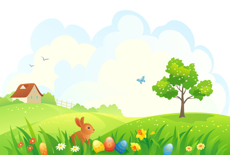 Vector illustration of an Easter scene Çizim