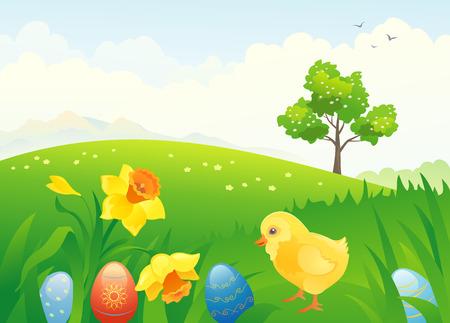 Vector illustration of a Easter countryside scene Illustration