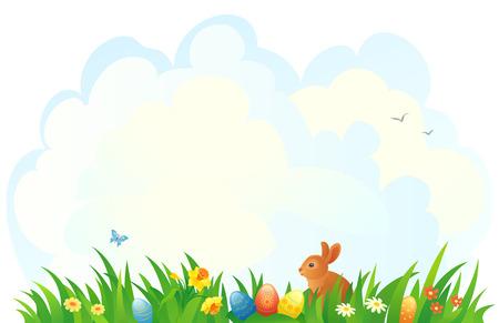 Vector illustration of an Easter scene Illustration