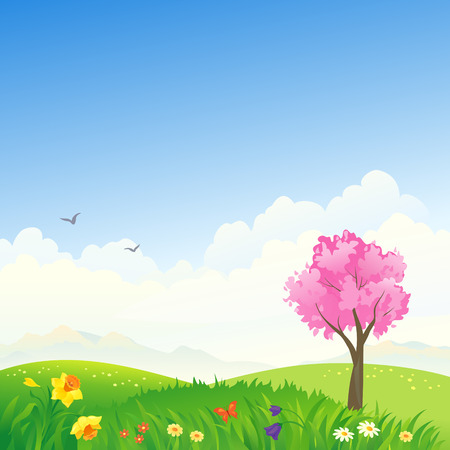 Vector illustration of a spring scene Illustration