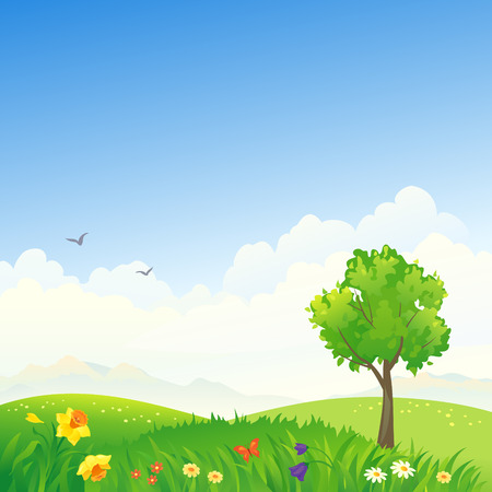 hilly: Vector illustration of a spring scenery