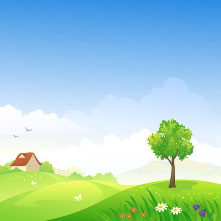 春の丘陵風景のベクトル イラスト