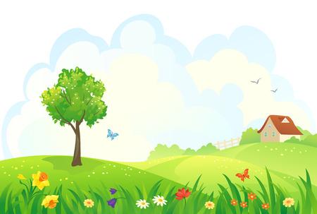 case colorate: Illustrazione vettoriale di un giorno di primavera rurale Vettoriali