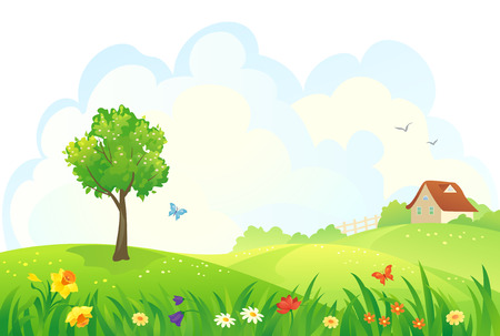 hill: Vector illustration of a rural spring day