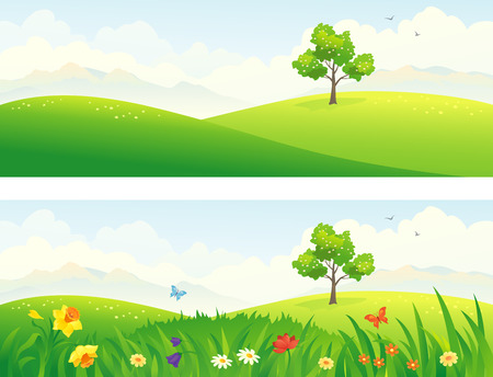 meadows: Vector illustration of green and blooming hills