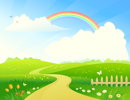 spring season: Vector illustration of a hilly landscape with a rainbow