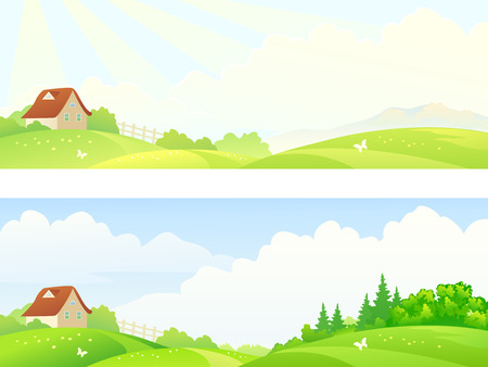 hilly: Vector illustration of a hilly countryside