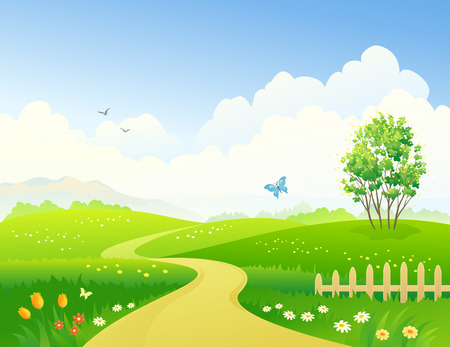 flower meadow: Vector illustration of a green landscape