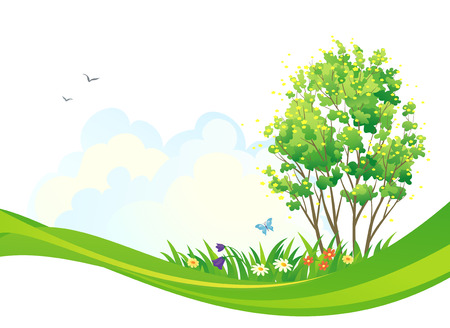 lush foliage: Vector design with a spring tree