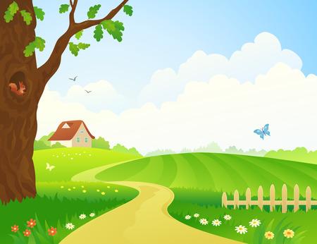 arboles frondosos: Ilustración vectorial de una escena rural Vectores