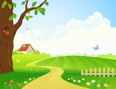 sunlit: Vector illustration of a rural scene Illustration