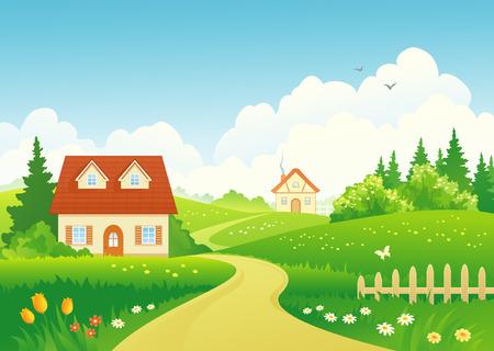 campo: Ilustración vectorial de un paisaje rural
