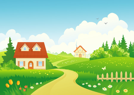 Vector illustration of a rural landscape Çizim