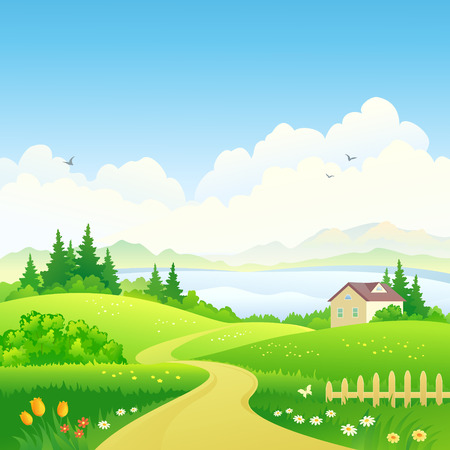 hilly: Vector illustration of a green landscape