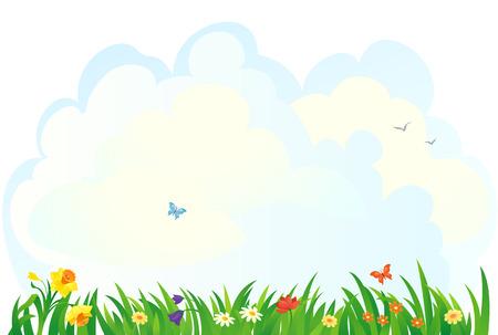 herbe ciel: Vecteur de fond avec une herbe et les fleurs du printemps