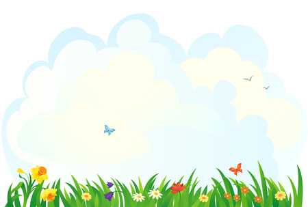 butterfly vector: Vector background with a spring grass and flowers