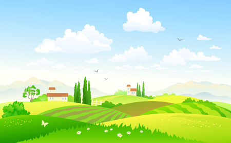 Vector illustration of a beautiful green hilly countryside Stock Illustratie