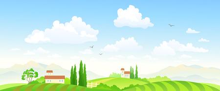 Ilustración vectorial de un hermoso paisaje de granja verde