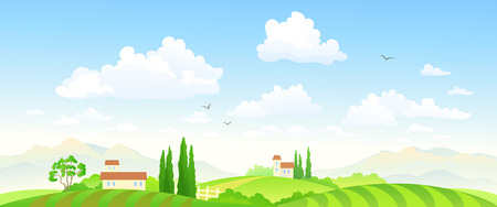 rural houses: Vector illustration of a beautiful green farm landscape