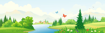 mountain meadow: Vector illustration of a beautiful river panoramic landscape