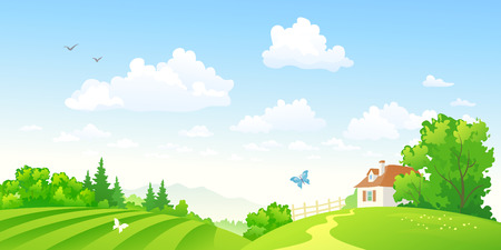 Vector illustration of beautiful green hilly countryside Çizim