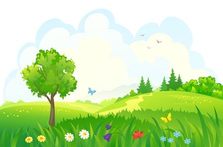 dia soleado: Ilustración vectorial de hermosos bosques verdes